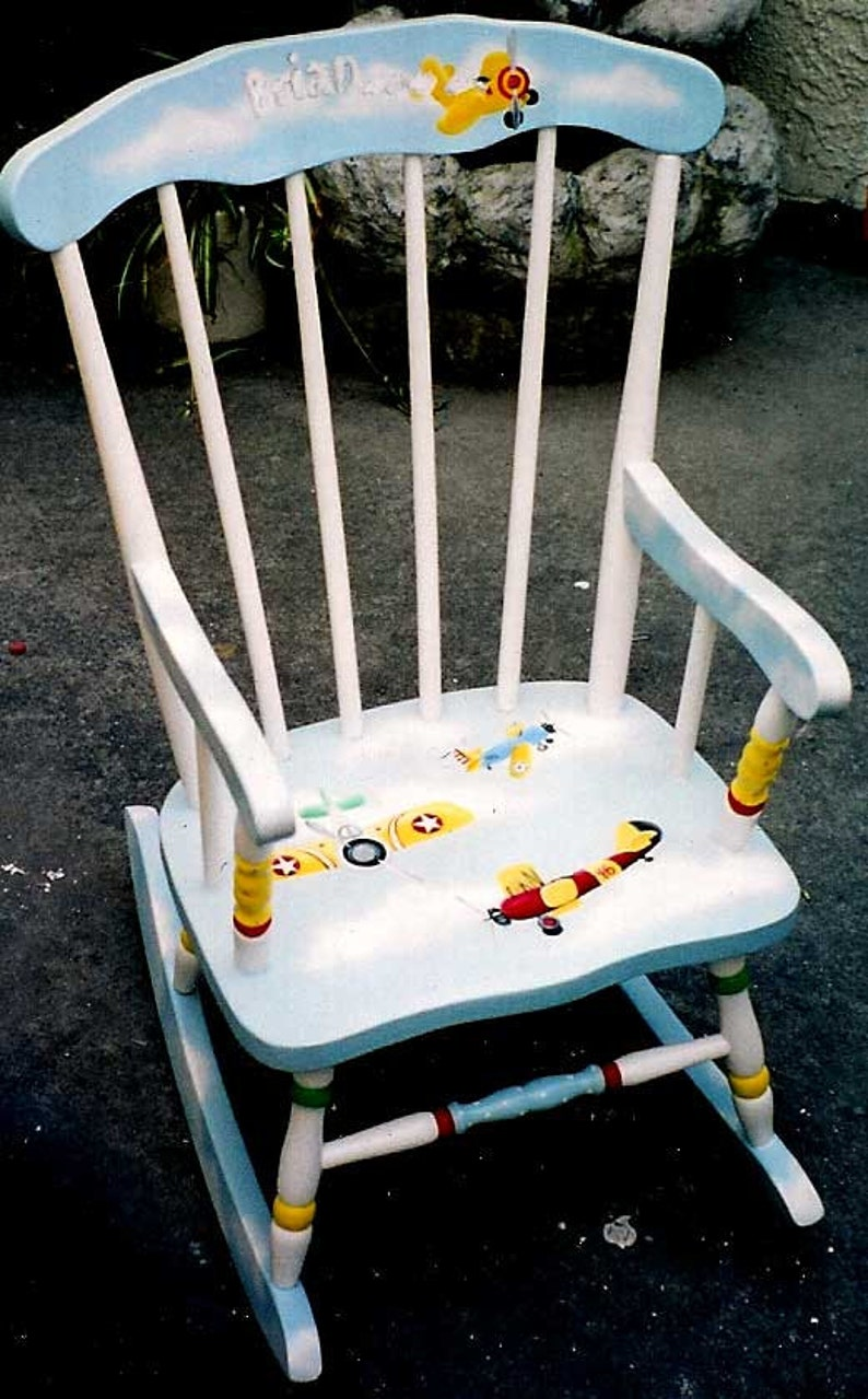 boys rocking chairs hand painted rocking chair airplane rocking chair child/'s rocker kids painted rockers