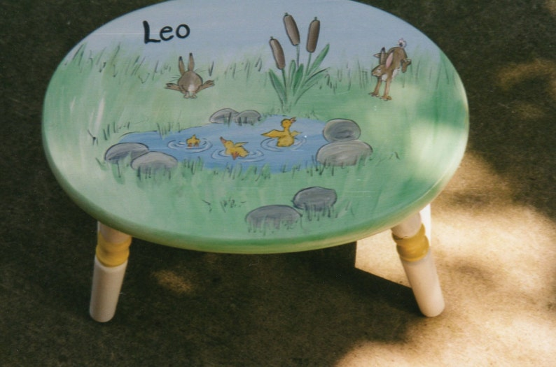 hand painted children/'s furniture hand painted step stool personalized bunnies and duckies oval step stool kids step stools