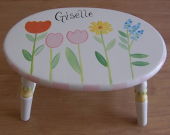 hand painted step stool, child's step stool, step stools, oval step stool, personalized step stools