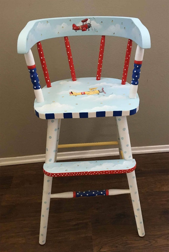 Peachy Hand Painted Youth Chair Kids Youth Chair Painted Childrens Furniture High Chairs Airplane Youth Chair Pdpeps Interior Chair Design Pdpepsorg