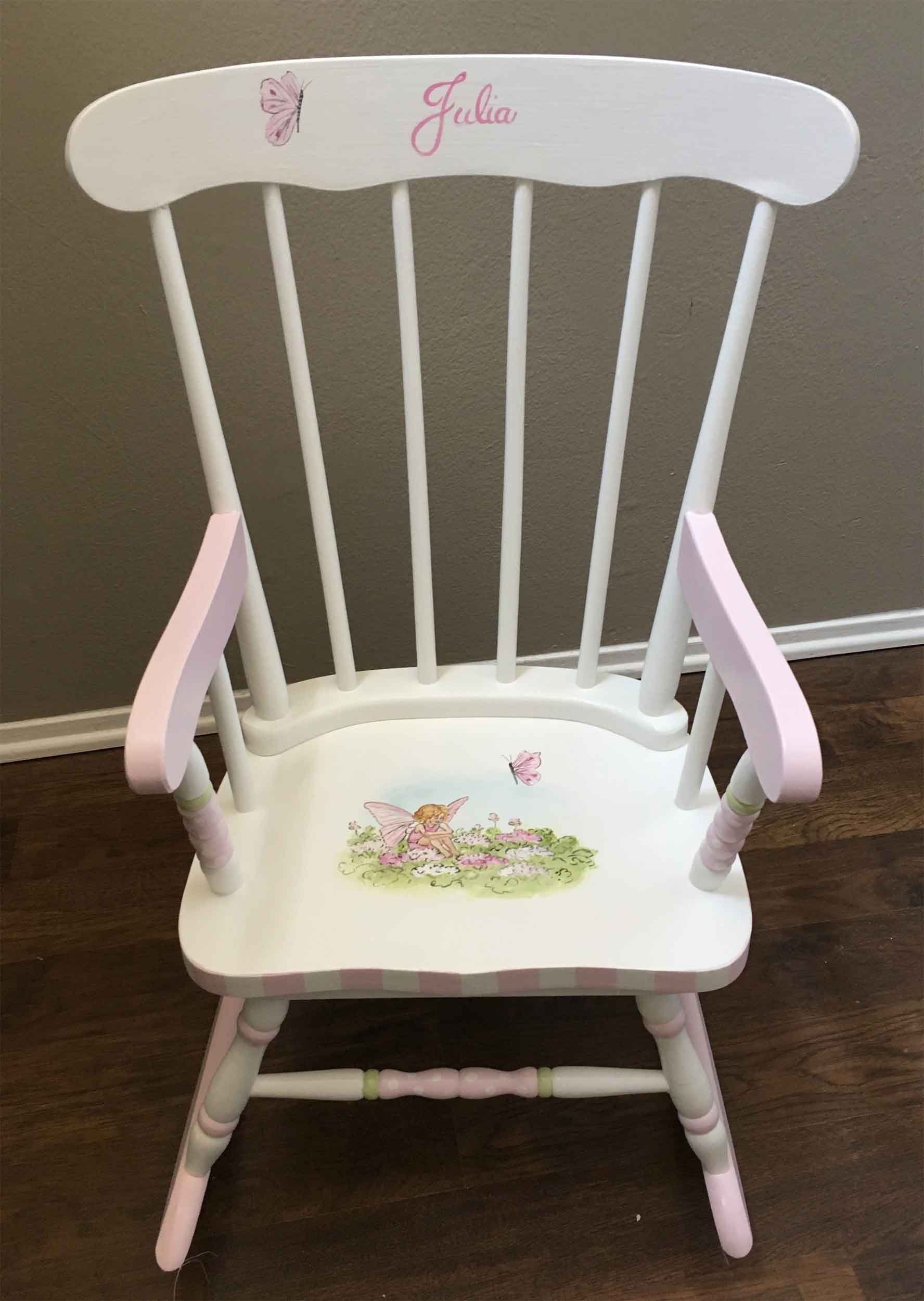 Flower Fairy Rocking Chair Hand Painted Rocking Chair Kids