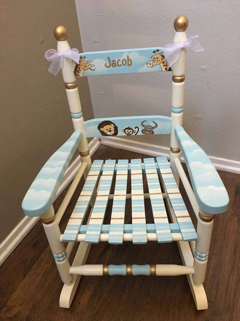 Toddlers Rocking Chair Noahs Ark Rocking Chair Child S Painted Rocking Chair Hand Painted Kids Furniture