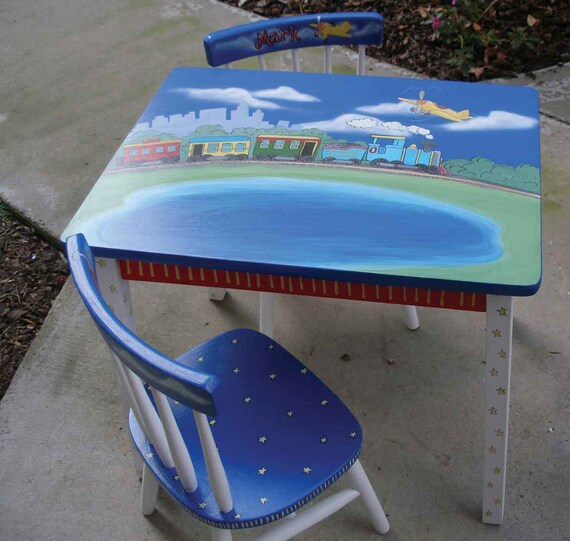 Train Table Hand Painted Train Table Kids Painted Furniture | Etsy
