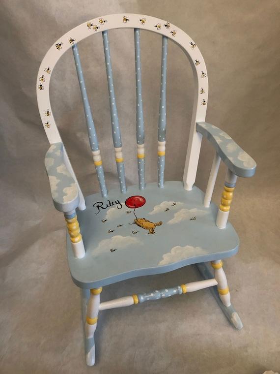 hand painted kids rockers, Winnie the Pooh rocking chair, kids furniture