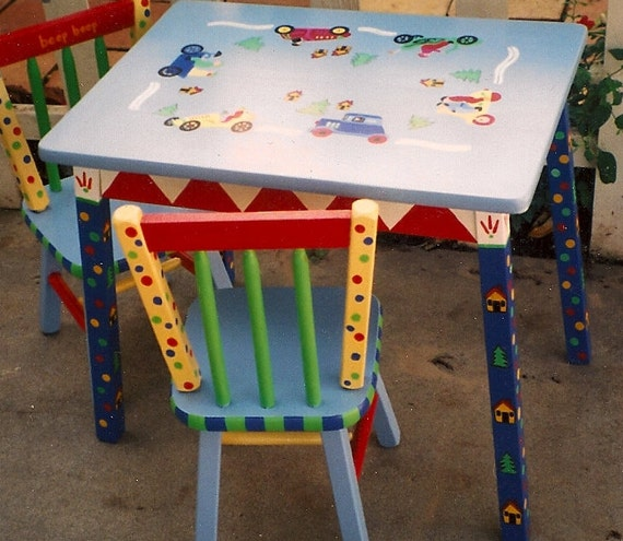Prime Cars Table And Chair Set Hand Painted Boys Table And Chairs Kids Furniture Pdpeps Interior Chair Design Pdpepsorg