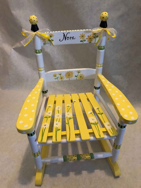 Strange Childs Hand Painted Rocking Chairs Sunflower Rocker Kids Rocking Chairs Lamtechconsult Wood Chair Design Ideas Lamtechconsultcom