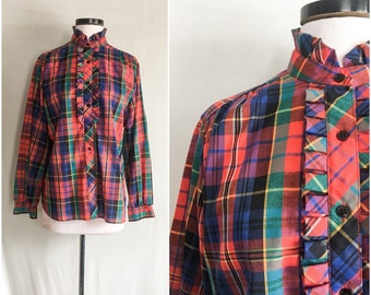 a3fd42263838 Vintage Shirt   Vintage Blouse   Royal Stewart Tartan Plaid Ruffle Front  Blouse   VTG ruffle blouse   Laura Mae Tuxedo Top Size Small Medium