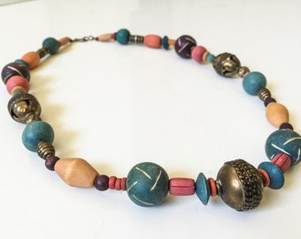 Vintage 1970s Wood and Brass Necklace // Faded Jewel Tones // vintage 70s wood and brass necklace // Boho Ethnic