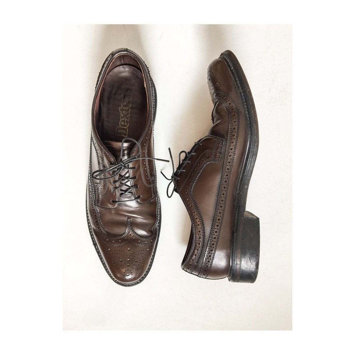 Vintage DEXTER Choclote Brown Longwing Blucher Derby Full Brogued Wingtips Gunboats / Dark Brown Dress Shoes / Mid Century Brogues Size 12 D - Scarpe alla moda N3PqTOqR omqylP sJpPiL
