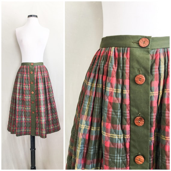 Quilted Button Up Circle Skirt by Miss Pat // 1950