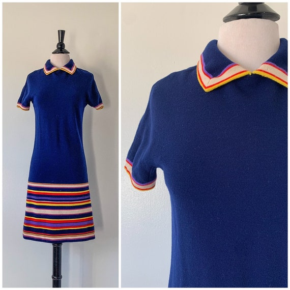 Vintage 1960s Goldworm Merino Wool Mod Dress / 60s