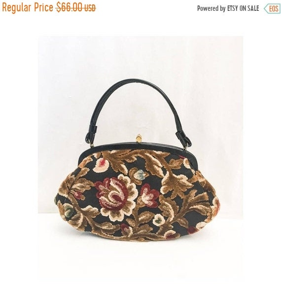SALE Vintage Tapestry Kelly Bag // 50s 60s Garay T