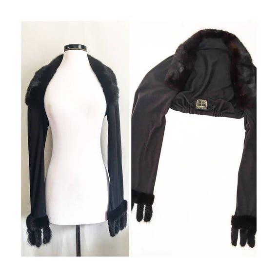 Black Fur Trimed Shrug W/ Fur Fingers // HPI of Sw