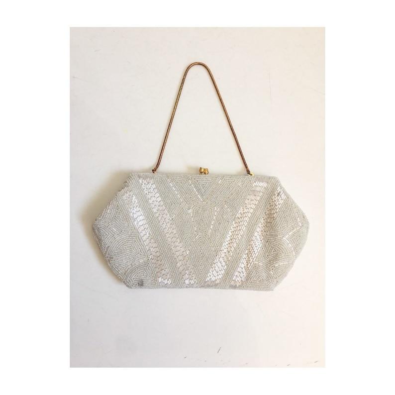 f18357b53b Vintage Beaded Bag // VTG Seed Bead Handbag // Mid Century   Etsy