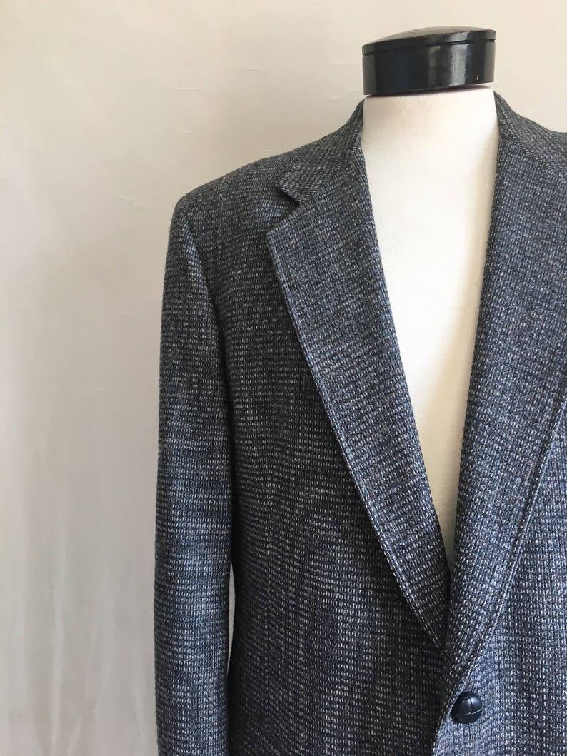 60s Mid Century Blue Tweed Sports Coat  1960s Wool Check Blazer by Hart Schaffner and Marx  Mad Men Era Blazer Blue Virgin Wool Size 42 L