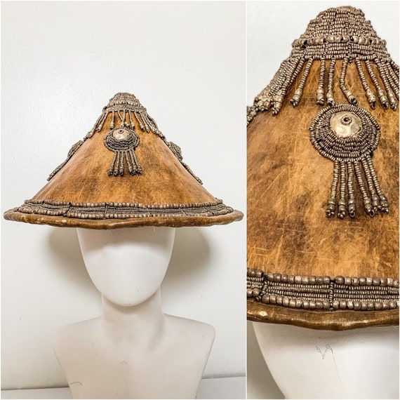 Antique Asian Sun Hat / African Fulani Hat / Leath