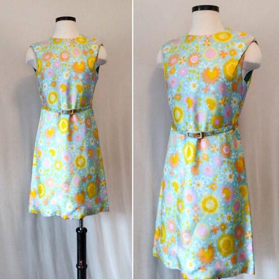 Vintage 60s Psychedelic Floral Print Shift Dress 1960s belted dress vintage floral spring summer dress with matching belt