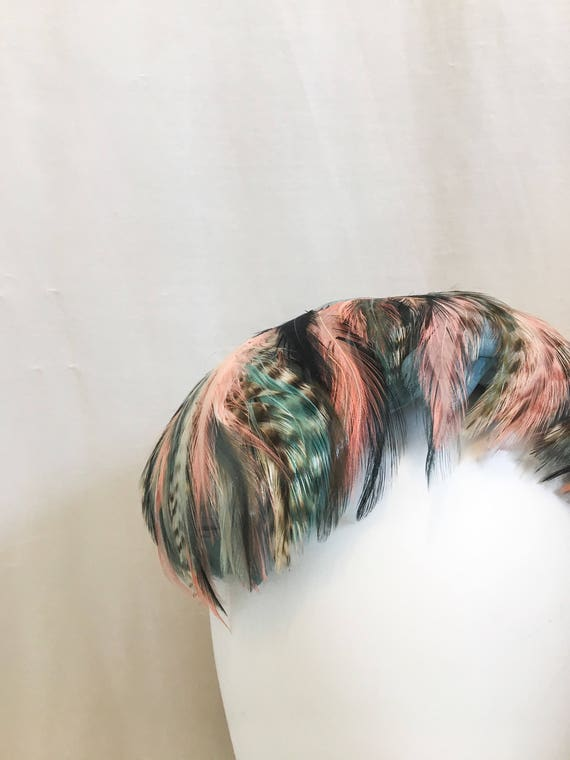 Vintage 1950s Feather Hat // Blue & Pink Sculpted… - image 5