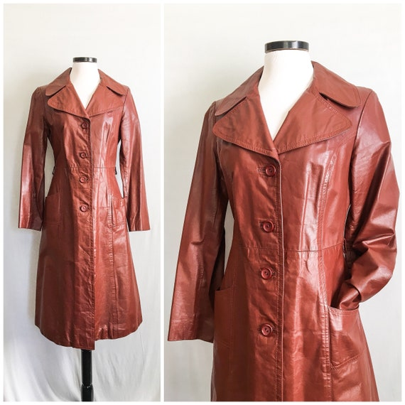 VTG 1970s Red Brown Leather Coat / 70s Oxblood Red