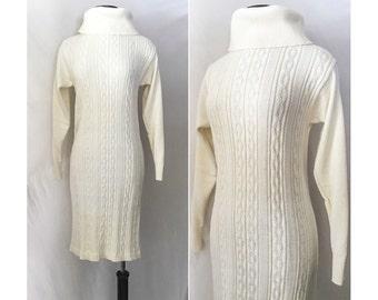Vintage 1970s Knit Dress // 70s Knit Turtleneck Dress // Ivory Cream Cable Knit Dress