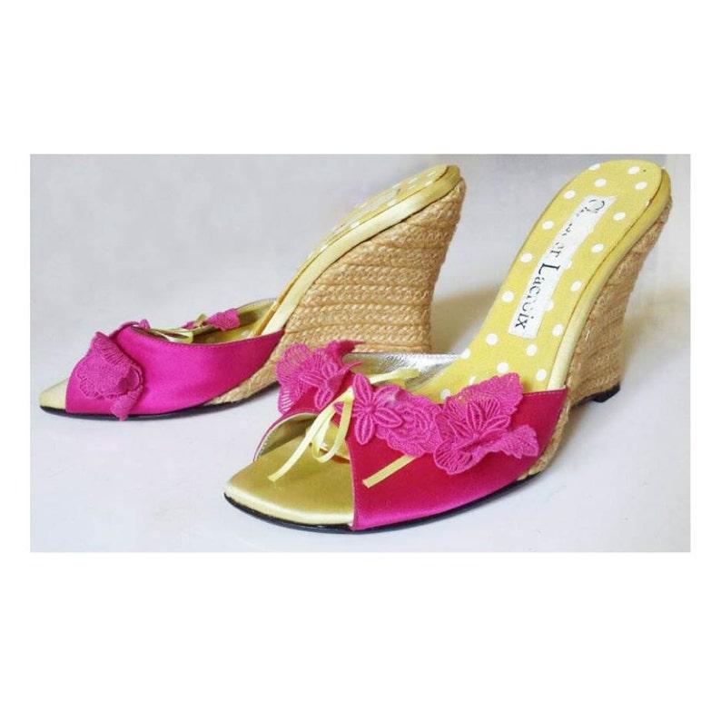 2187cae3f6ee4 Vintage Christian Lacroix Shoes // Vintage Wedge Platforms // Designer  Shoes // Wedge Slip On Sandals W/ Floral Appliques Size 6.5 Euro 37