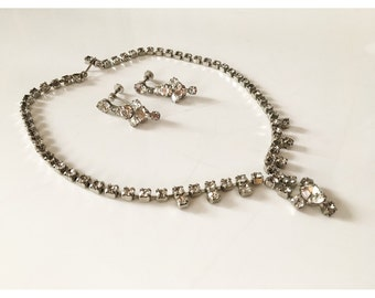 VTG Antique Rhinstone Necklace & Matching Earrings // Mid Century Rhinestone Jewelry Set // 1950s 1960s Necklace and Screw Back Earrings