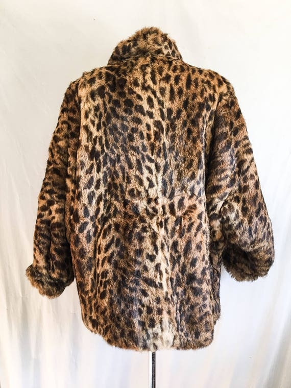 SALE VTG Leopard Print Coat / Rabbit Fur Jacket /… - image 2
