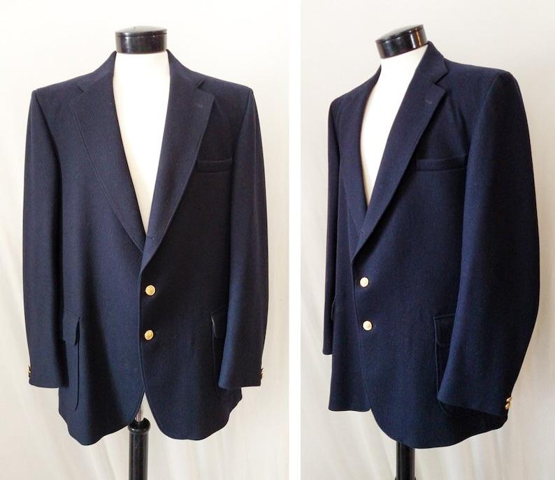 BayerIscher Loden for Orvis Sports Coat   Mens Navy Blue Wool  a7885f94171