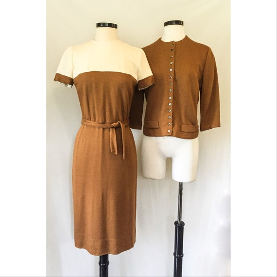 19c59f1b600 1960s Brown and Beige Dress and Cardigan Set    60s vintage by