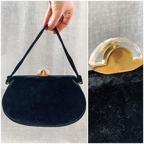 Vintage Handbag / 1940s Handbag / Black Velvet Eve