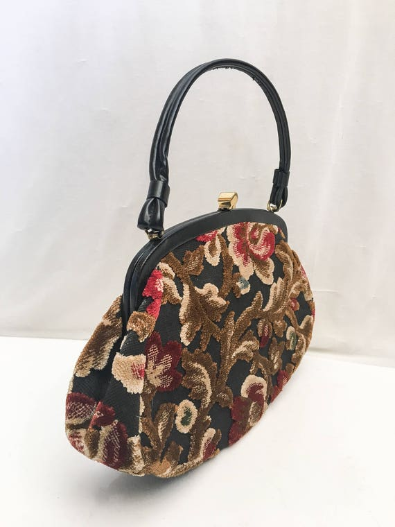 Vintage Tapestry Kelly Bag // 50s 60s Garay Tapes… - image 3