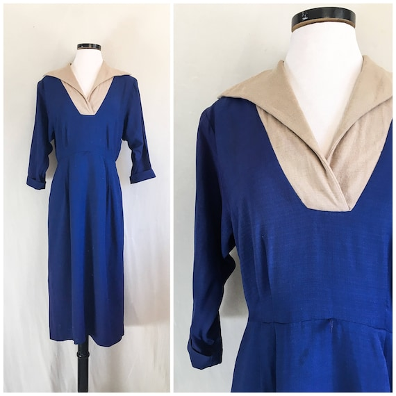 1930s - 40s Day Dress / 1930s - 40s Rayon Crepe Dr