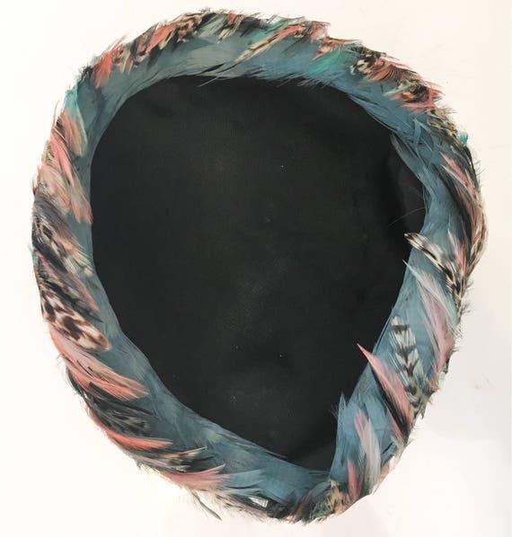 Vintage 1950s Feather Hat // Blue & Pink Sculpted… - image 2