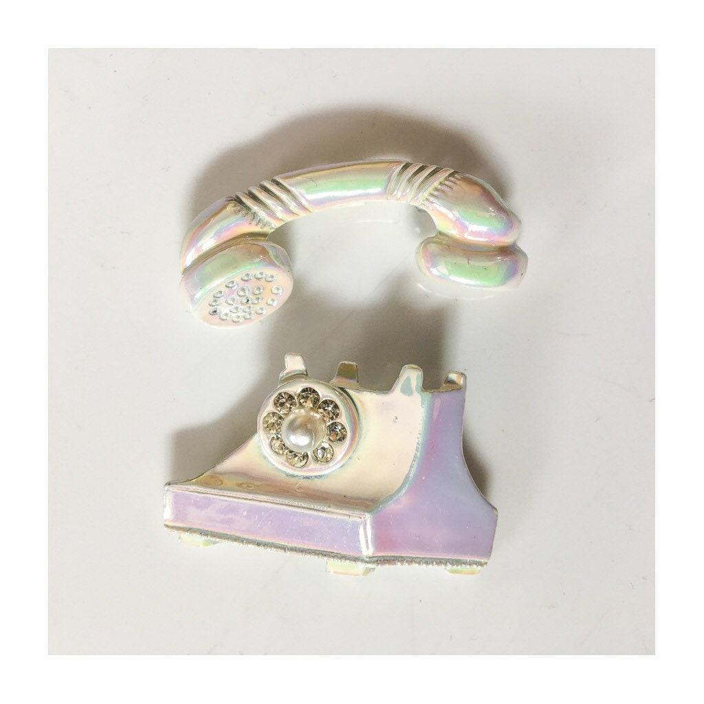 ON SALE Vintage White Rhinestone Telephone Brooch