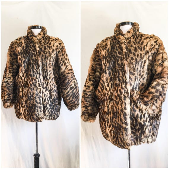 VTG Leopard Print Coat / Rabbit Fur Jacket / Pele