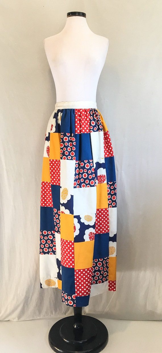 c2afdb538 1970s Patched Maxi Skirt / Vintage 70s Handmade Colorful Patch   Etsy