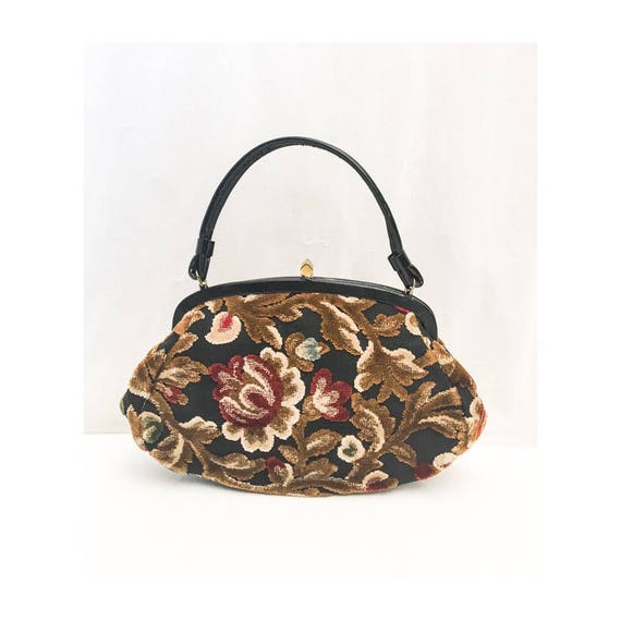 Vintage Tapestry Kelly Bag // 50s 60s Garay Tapest