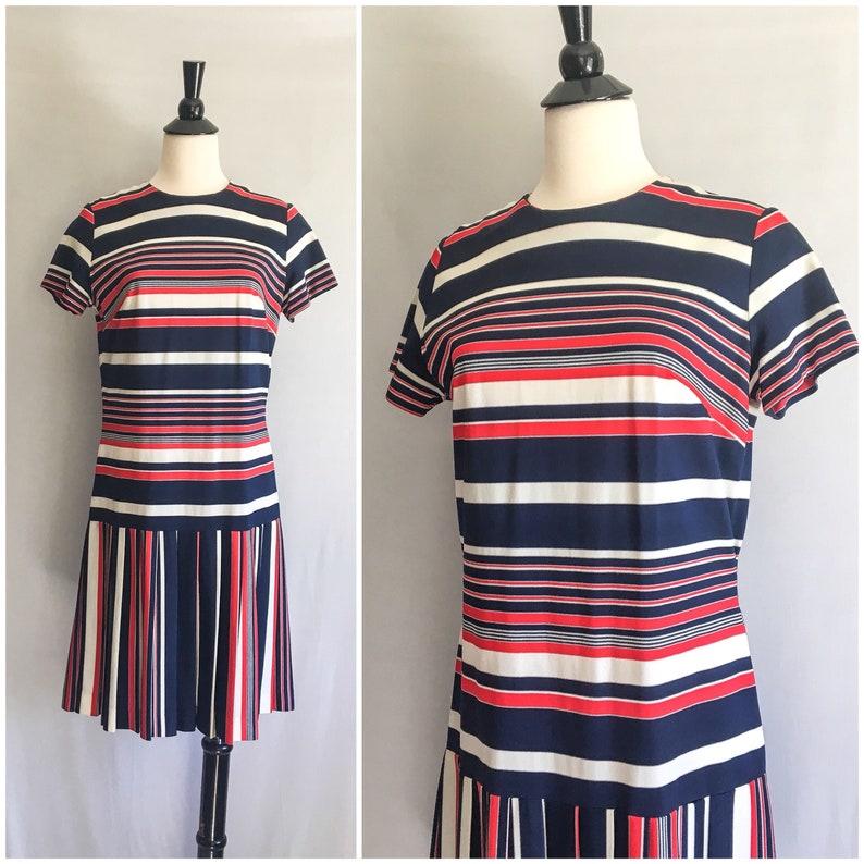 4ca1271b959e Vintage 1960s Drop Waist Knit Dress / 60s Nautical Dress Red   Etsy