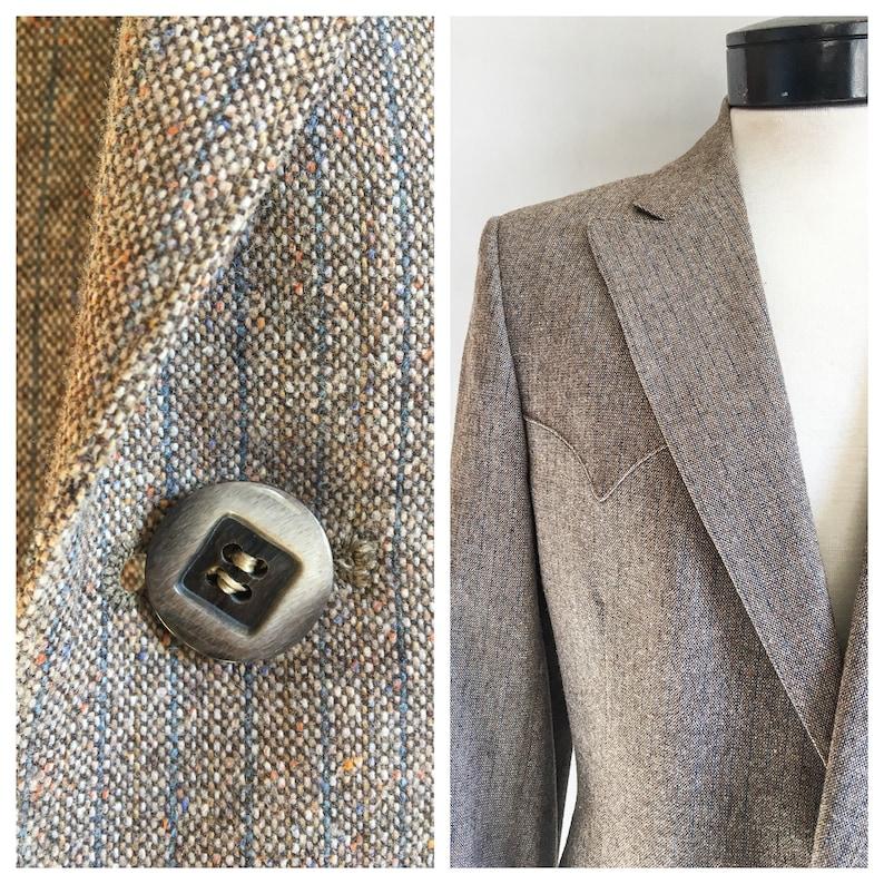 Mens Vintage Mend Suit by Prestige West  Grey Taupe Tan Two Piece Suit  Wool Suit  Mens 2 Piece Suit Western Suit Size 42 Chest