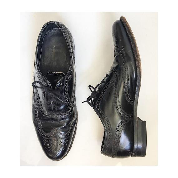 Vintage Florsheim Shoes // Mens Classic Black Dres