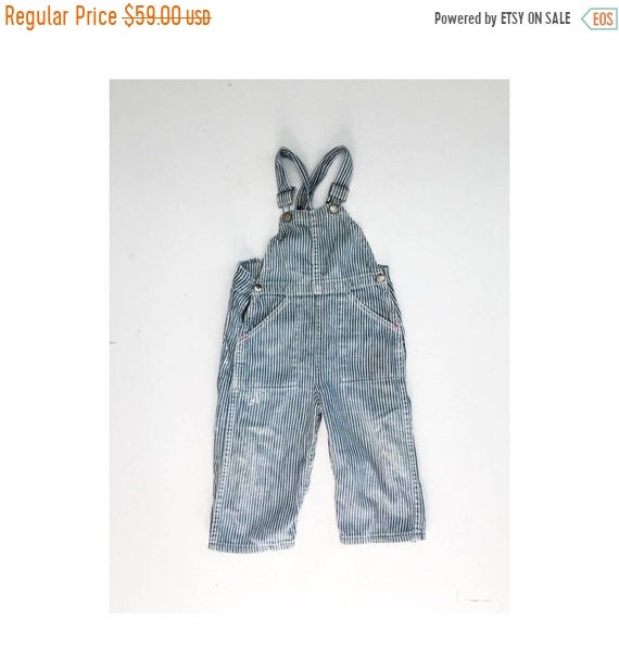 CLEARANCE Rare 1930s Toddler Denim Pinstripe Overa