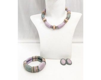 Vintage Pastel Jewelry Set / Necklace, Bracelet, Earrings Vintage Chunky Beads / Pastel Chunky Spring Summer Matching Jewelry Set