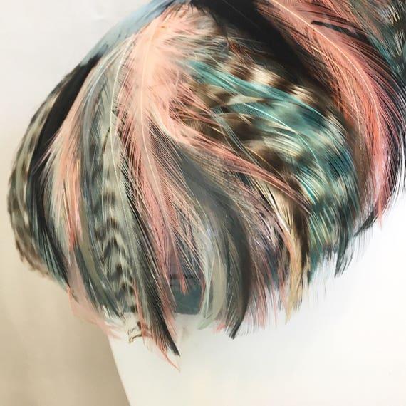 Vintage 1950s Feather Hat // Blue & Pink Sculpted… - image 6