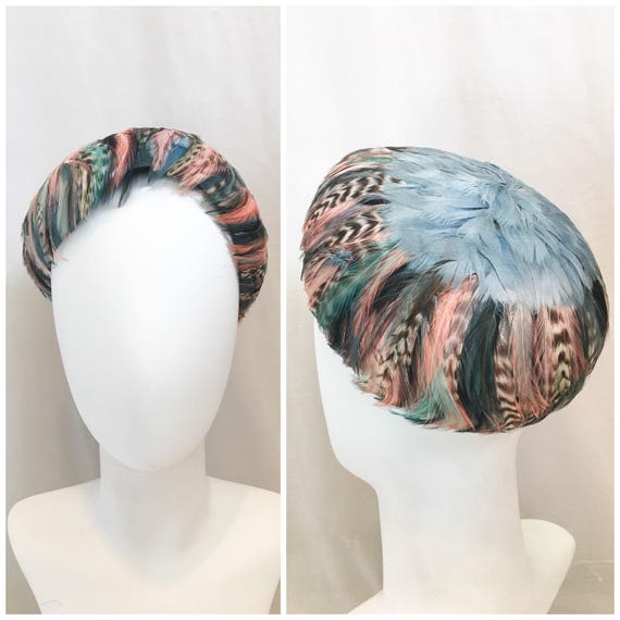 Vintage 1950s Feather Hat // Blue & Pink Sculpted