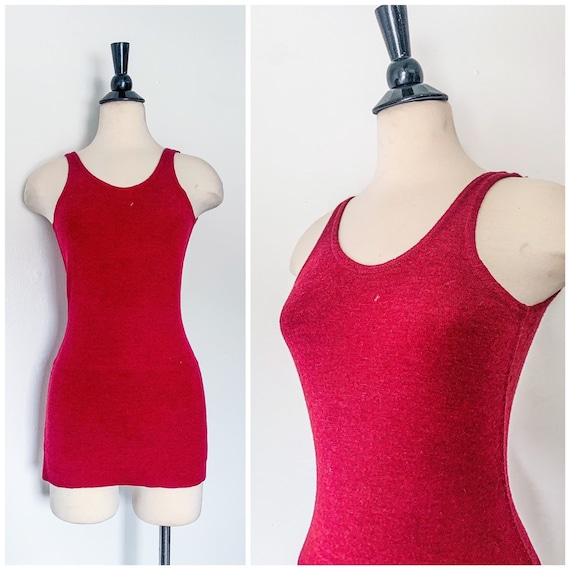 1920s 1930s Swimsuit / Burgandy Maroon Knit One Pi