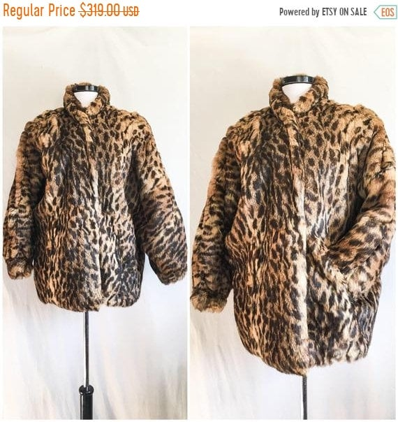 SALE VTG Leopard Print Coat / Rabbit Fur Jacket /… - image 1