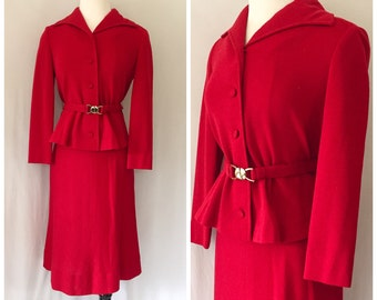 1960s Eleanor Brenner Couture Red Suit // Vintage 60s power woman red suit