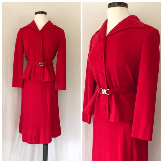 1960s Eleanor Brenner Couture Red Suit // Vintage