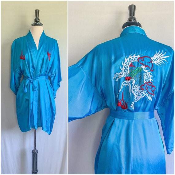 1960s Embroidered Dragon Robe Jacket House Coat /
