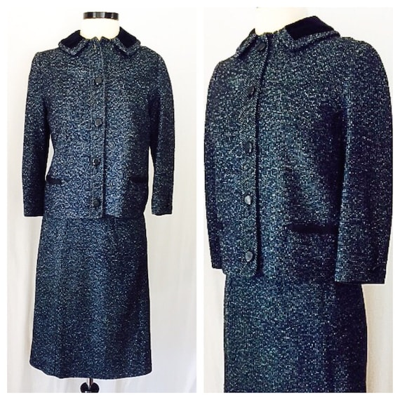 Vintage 1960s Blue and Black Tweed Two Piece Suit
